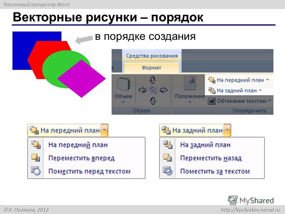 Текстовый процессор Word К. Поляков, 2012 http://kpolyakov.narod.ru Векторные рисунки – порядок в порядке создания