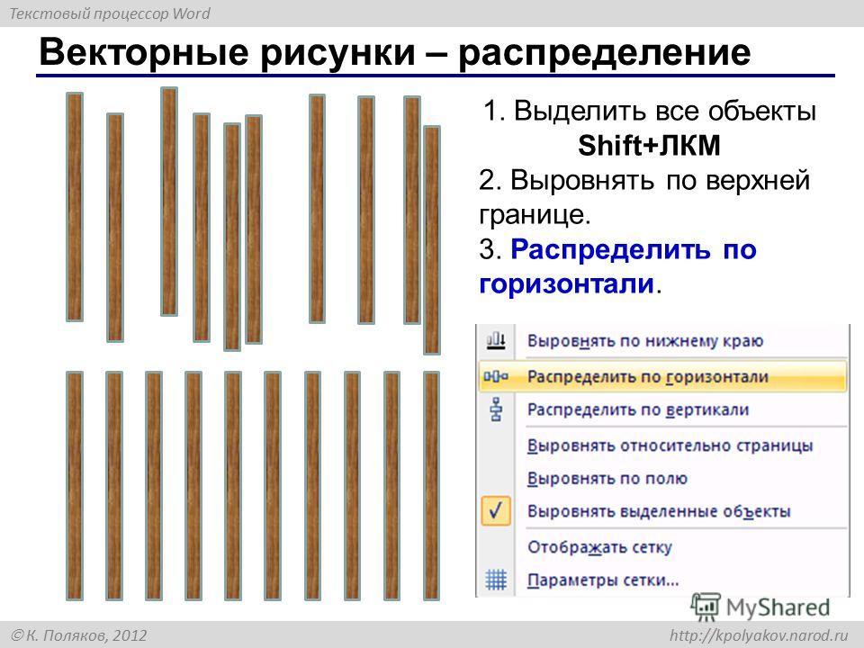 Текстовый процессор Word К. Поляков, 2012 http://kpolyakov.narod.ru Векторные рисунки – распределение 1. Выделить все объекты Shift+ЛКМ 2. Выровнять по верхней границе. 3. Распределить по горизонтали.