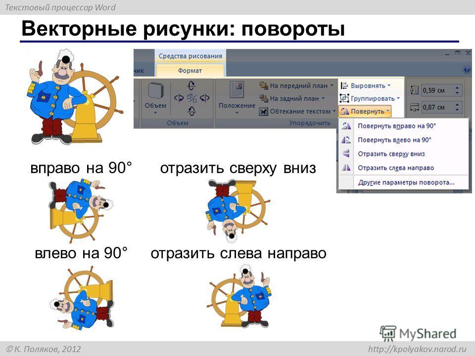 Текстовый процессор Word К. Поляков, 2012 http://kpolyakov.narod.ru Векторные рисунки: повороты вправо на 90° влево на 90° отразить сверху вниз отразить слева направо