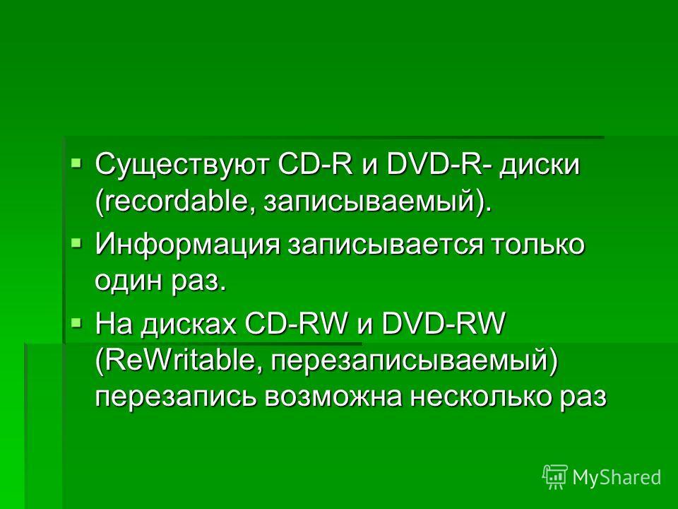 Существуют CD-R и DVD-R- диски (recordable, записываемый). Существуют CD-R и DVD-R- диски (recordable, записываемый). Информация записывается только один раз. Информация записывается только один раз. На дисках CD-RW и DVD-RW (ReWritable, перезаписыва