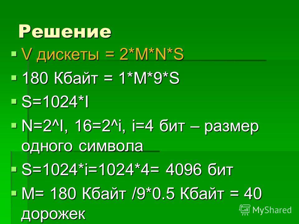 Решение V дискеты = 2*M*N*S V дискеты = 2*M*N*S 180 Кбайт = 1*M*9*S 180 Кбайт = 1*M*9*S S=1024*I S=1024*I N=2^I, 16=2^i, i=4 бит – размер одного символа N=2^I, 16=2^i, i=4 бит – размер одного символа S=1024*i=1024*4= 4096 бит S=1024*i=1024*4= 4096 би