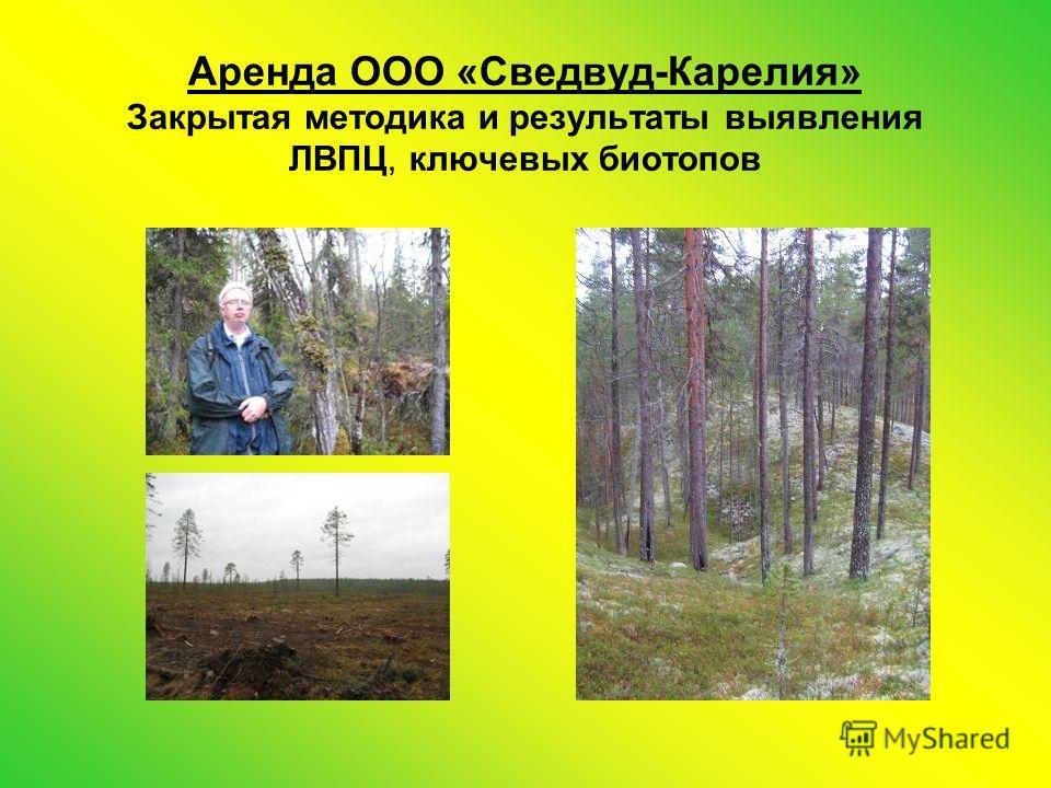 Аренда ООО «Сведвуд-Карелия» Закрытая методика и результаты выявления ЛВПЦ, ключевых биотопов
