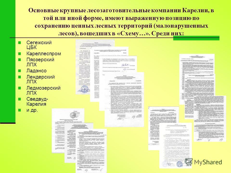 Основные крупные лесозаготовительные компании Карелии, в той или иной форме, имеют выраженную позицию по сохранению ценных лесных территорий (малонарушенных лесов), вошедших в «Схему…». Среди них: Сегежский ЦБК Кареллеспром Пяозерский ЛПХ Ладэнсо Лен