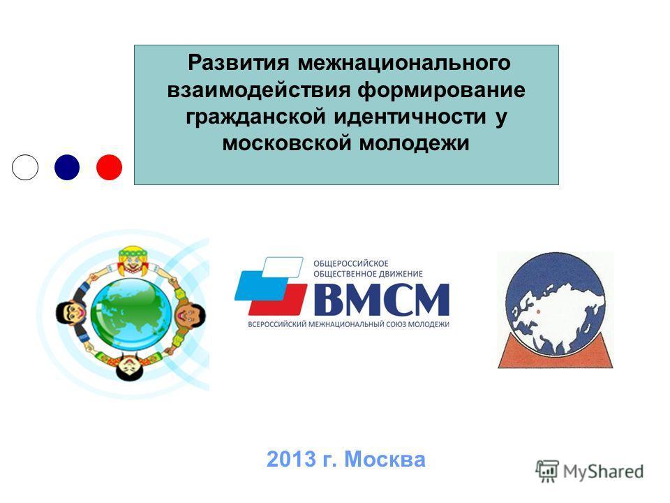 2013 г. Москва Развития межнационального взаимодействия формирование гражданской идентичности у московской молодежи
