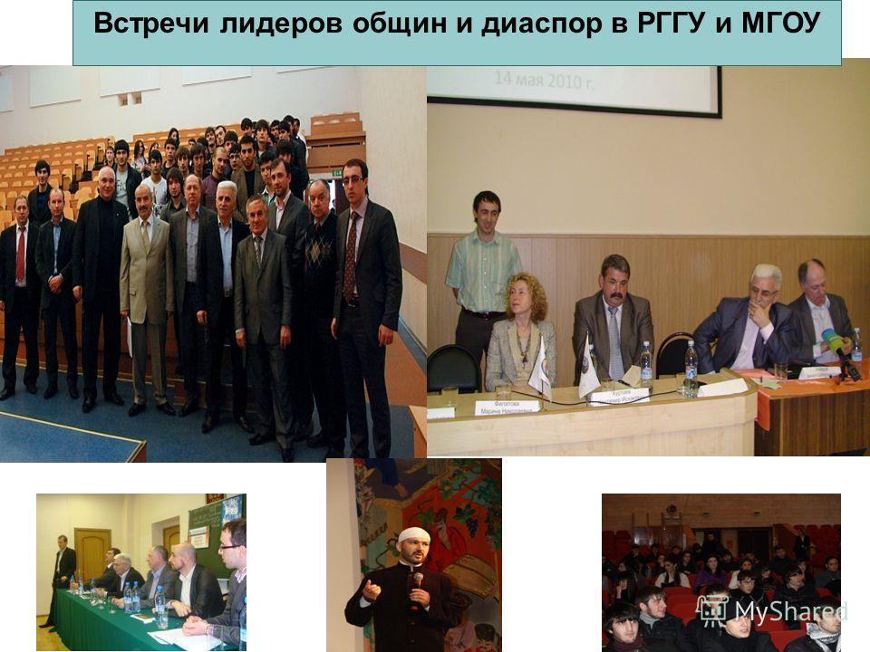 Встречи лидеров общин и диаспор в РГГУ и МГОУ