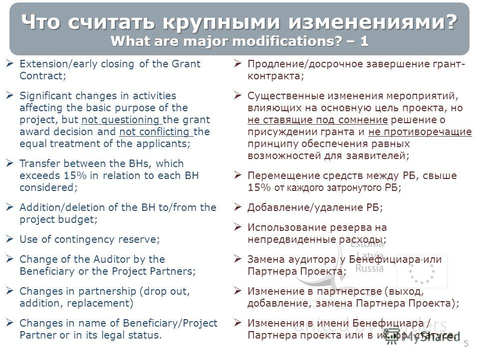 Что считать крупными изменениями? What are major modifications? – 1 5 Extension/early closing of the Grant Contract; Significant changes in activities affecting the basic purpose of the project, but not questioning the grant award decision and not co