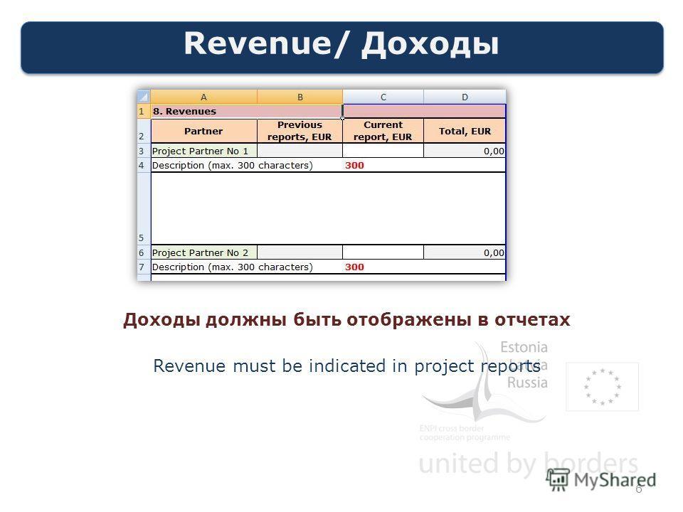 Revenue/ Доходы 6 Доходы должны быть отображены в отчетах Revenue must be indicated in project reports