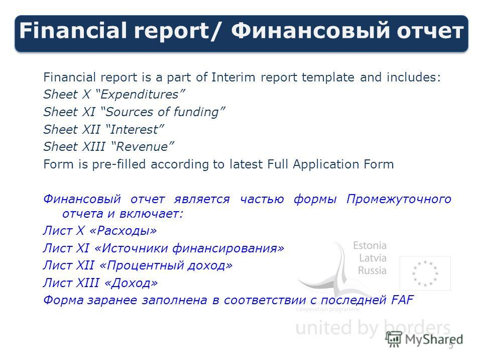 Financial report/ Финансовый отчет Financial report is a part of Interim report template and includes: Sheet X Expenditures Sheet XI Sources of funding Sheet XII Interest Sheet XIII Revenue Form is pre-filled according to latest Full Application Form
