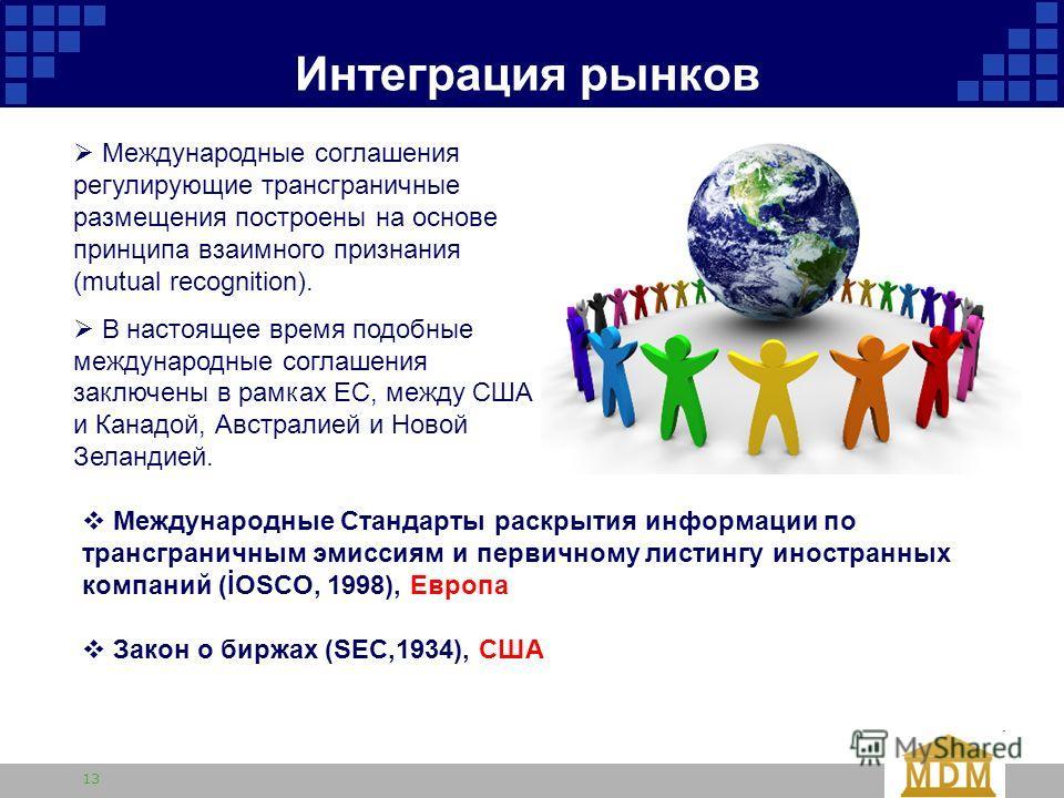 13 Интеграция рынков Международные соглашения регулирующие трансграничные размещения построены на основе принципа взаимного признания (mutual recognition). В настоящее время подобные международные соглашения заключены в рамках ЕС, между США и Канадой