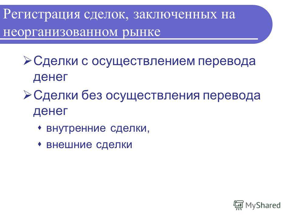 Регистрация сделок, заключенных на неорганизованном рынке Сделки с осуществлением перевода денег Сделки без осуществления перевода денег внутренние сделки, внешние сделки