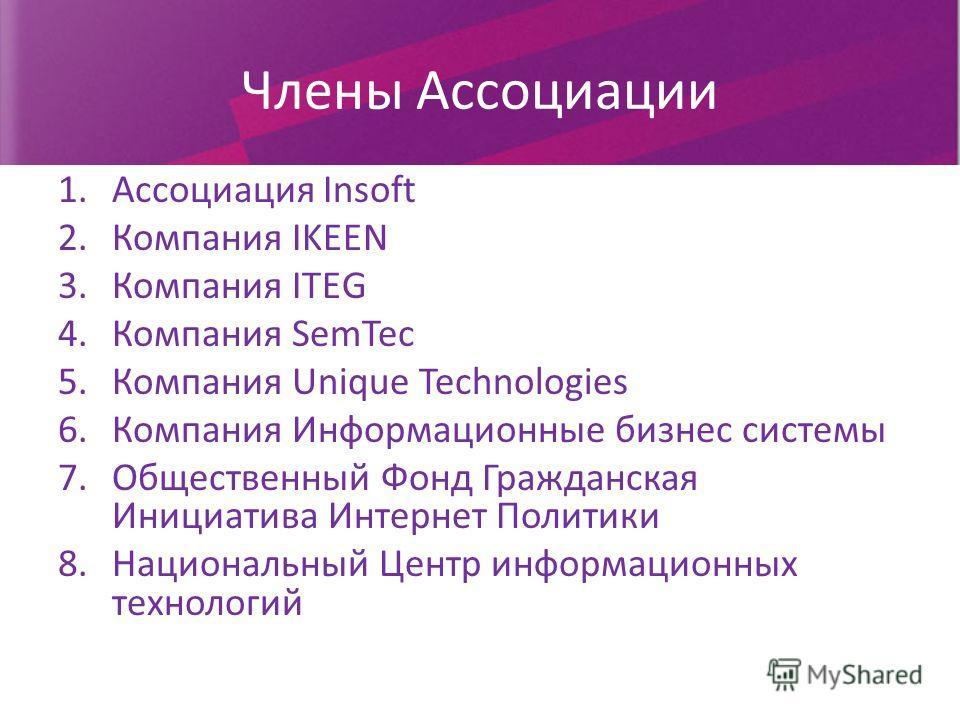 Члены Ассоциации 1.Ассоциация Insoft 2.Компания IKEEN 3.Компания ITEG 4.Компания SemTec 5.Компания Unique Technologies 6.Компания Информационные бизнес системы 7.Общественный Фонд Гражданская Инициатива Интернет Политики 8.Национальный Центр информац