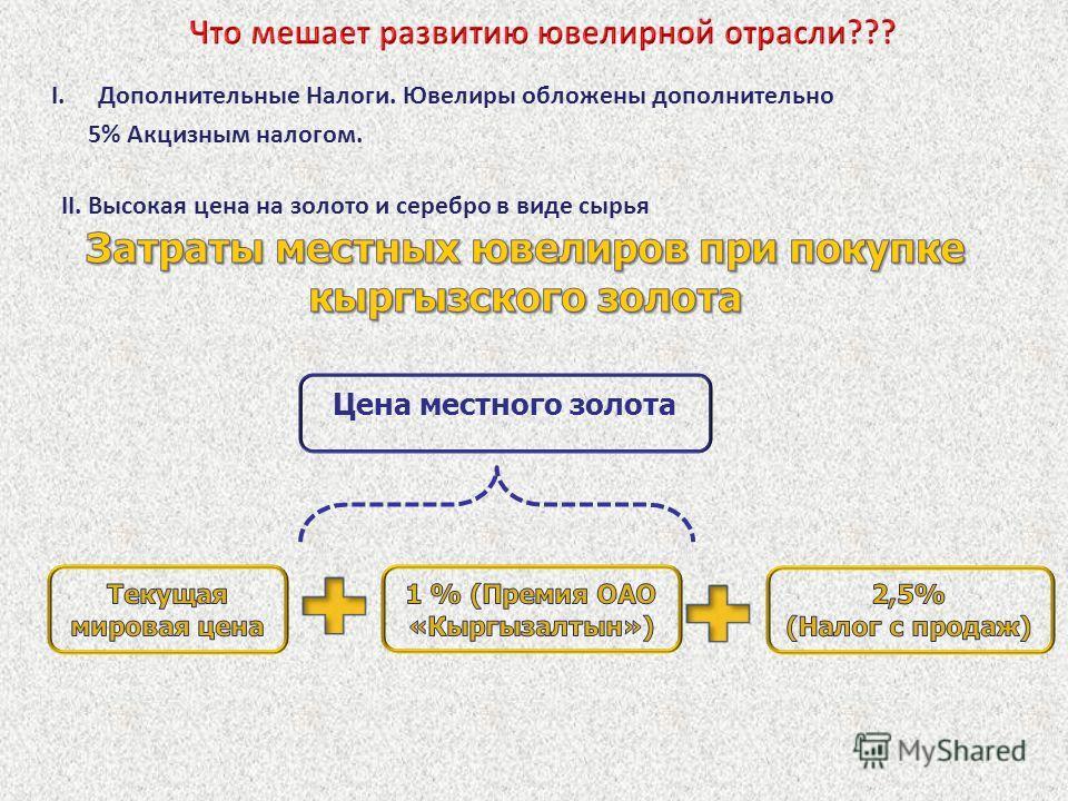Цена местного золота I.Дополнительные Налоги. Ювелиры обложены дополнительно 5% Акцизным налогом. II. Высокая цена на золото и серебро в виде сырья