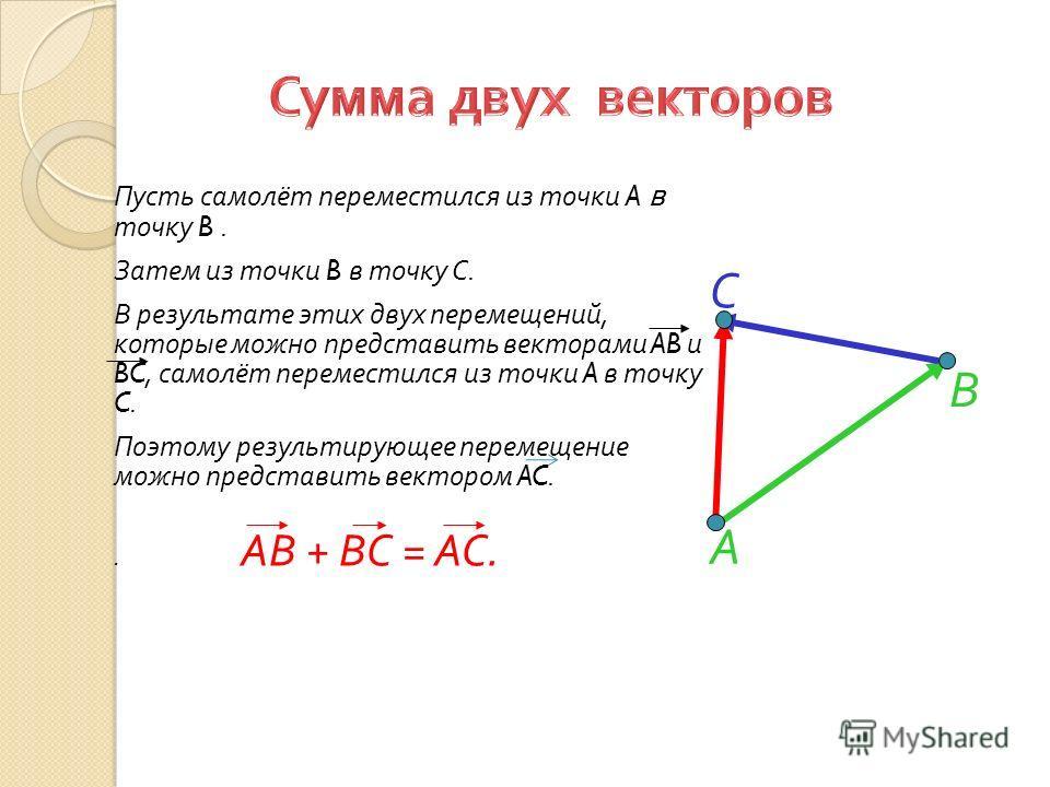 А Пусть самолёт переместился из точки A в точку B. Затем из точки B в точку C. В результате этих двух перемещений, которые можно представить векторами AB и BC, самолёт переместился из точки A в точку C. Поэтому результирующее перемещение можно предст