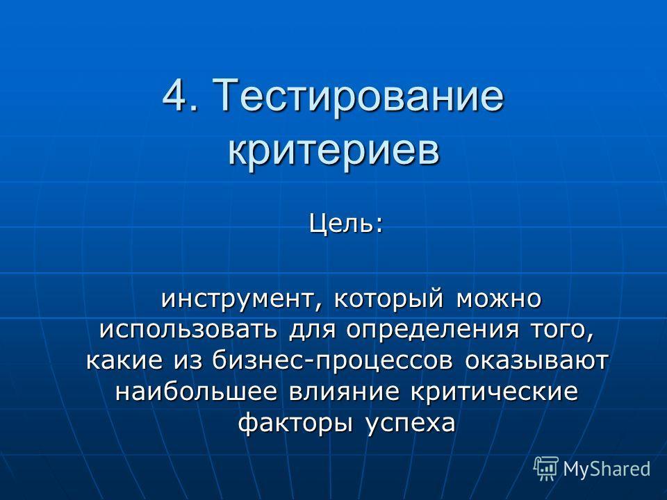 4. Тестирование критериев Цель: инструмент, который можно использовать для определения того, какие из бизнес-процессов оказывают наибольшее влияние критические факторы успеха инструмент, который можно использовать для определения того, какие из бизне