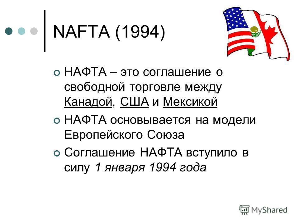 NAFTA (1994) НАФТА – это соглашение о свободной торговле между Канадой, США и Мексикой НАФТА основывается на модели Европейского Союза Соглашение НАФТА вступило в силу 1 января 1994 года