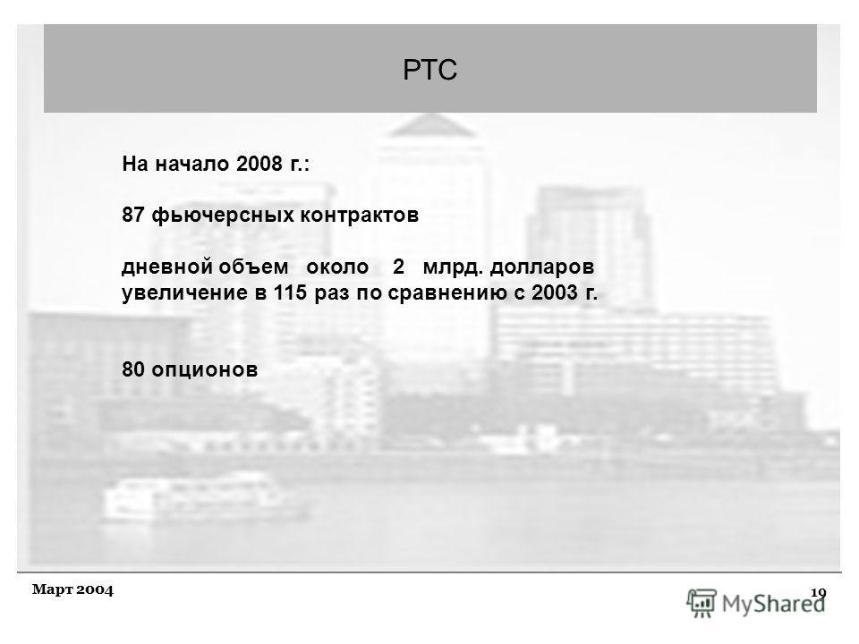 19 Март 2004 РТС На начало 2008 г.: 87 фьючерсных контрактов дневной объем около 2 млрд. долларов увеличение в 115 раз по сравнению с 2003 г. 80 опционов