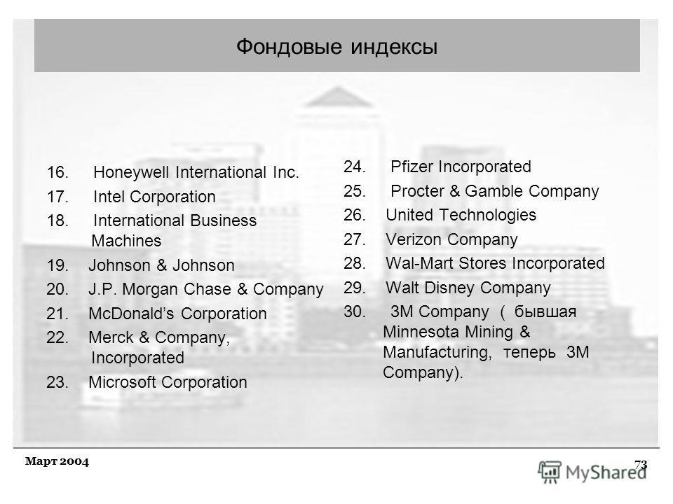 73 Март 2004 Фондовые индексы 16. Honeywell International Inc. 17. Intel Corporation 18. International Business Machines 19. Johnson & Johnson 20. J.P. Morgan Chase & Company 21. McDonalds Corporation 22. Merck & Company, Incorporated 23. Microsoft C