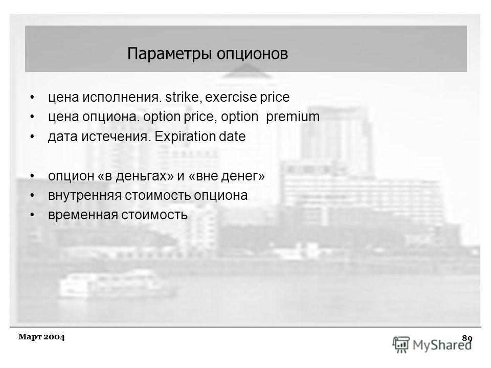 89 Март 2004 цена исполнения. strike, exercise price цена опциона. option price, option premium дата истечения. Expiration date опцион «в деньгах» и «вне денег» внутренняя стоимость опциона временная стоимость Параметры опционов