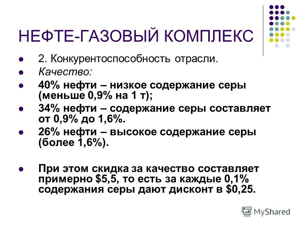 НЕФТЕ-ГАЗОВЫЙ КОМПЛЕКС 2. Конкурентоспособность отрасли. Качество: 40% нефти – низкое содержание серы (меньше 0,9% на 1 т); 34% нефти – содержание серы составляет от 0,9% до 1,6%. 26% нефти – высокое содержание серы (более 1,6%). При этом скидка за к