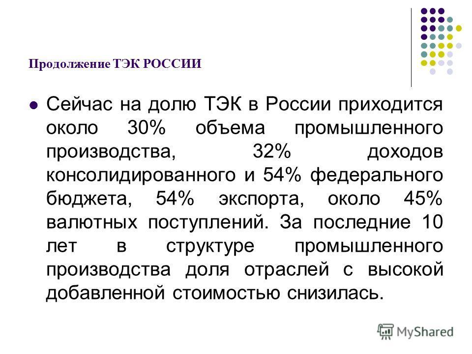 Продолжение ТЭК РОССИИ Сейчас на долю ТЭК в России приходится около 30% объема промышленного производства, 32% доходов консолидированного и 54% федерального бюджета, 54% экспорта, около 45% валютных поступлений. За последние 10 лет в структуре промыш