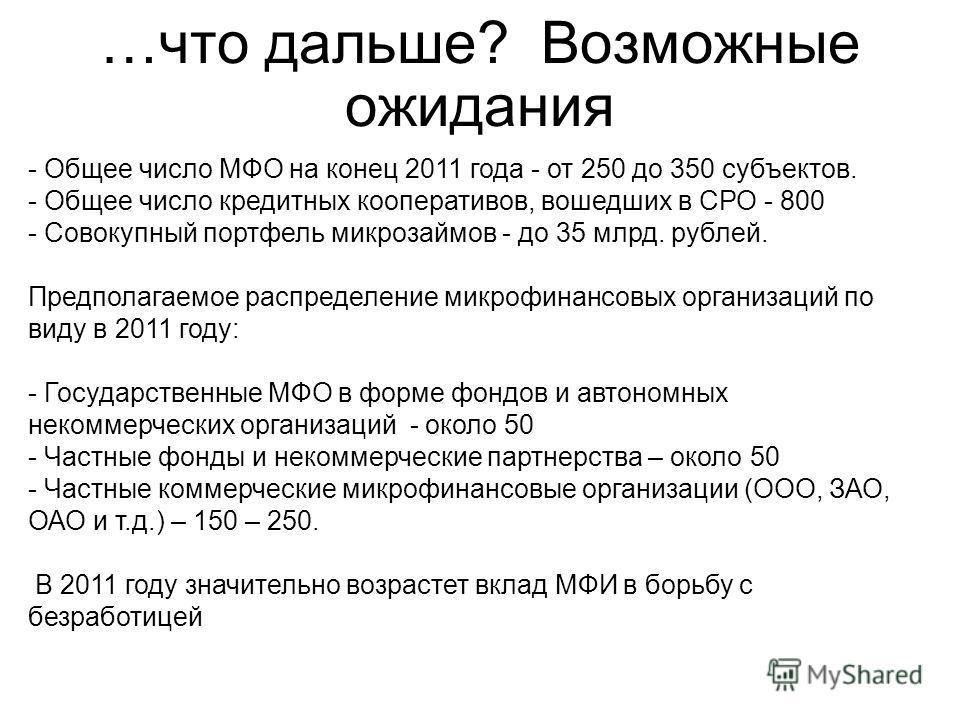 …что дальше? Возможные ожидания - Общее число МФО на конец 2011 года - от 250 до 350 субъектов. - Общее число кредитных кооперативов, вошедших в СРО - 800 - Совокупный портфель микрозаймов - до 35 млрд. рублей. Предполагаемое распределение микрофинан