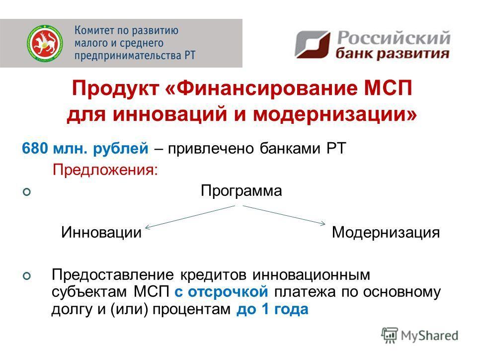 680 млн. рублей – привлечено банками РТ Предложения: Программа Инновации Модернизация Предоставление кредитов инновационным субъектам МСП с отсрочкой платежа по основному долгу и (или) процентам до 1 года Продукт «Финансирование МСП для инноваций и м