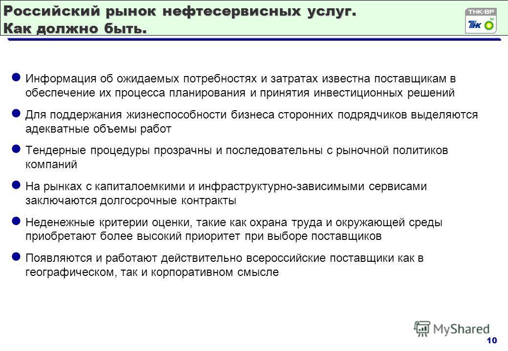 10 Российский рынок нефтесервисных услуг. Как должно быть. Информация об ожидаемых потребностях и затратах известна поставщикам в обеспечение их процесса планирования и принятия инвестиционных решений Для поддержания жизнеспособности бизнеса сторонни