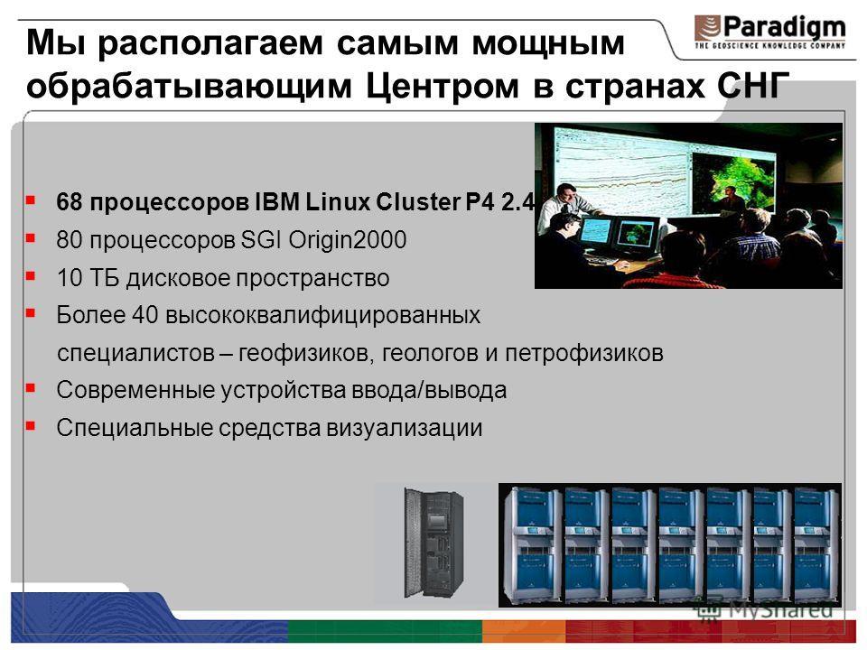 Мы располагаем самым мощным обрабатывающим Центром в странах СНГ 68 процессоров IBM Linux Cluster P4 2.4 80 процессоров SGI Origin2000 10 ТБ дисковое пространство Более 40 высококвалифицированных специалистов – геофизиков, геологов и петрофизиков Сов