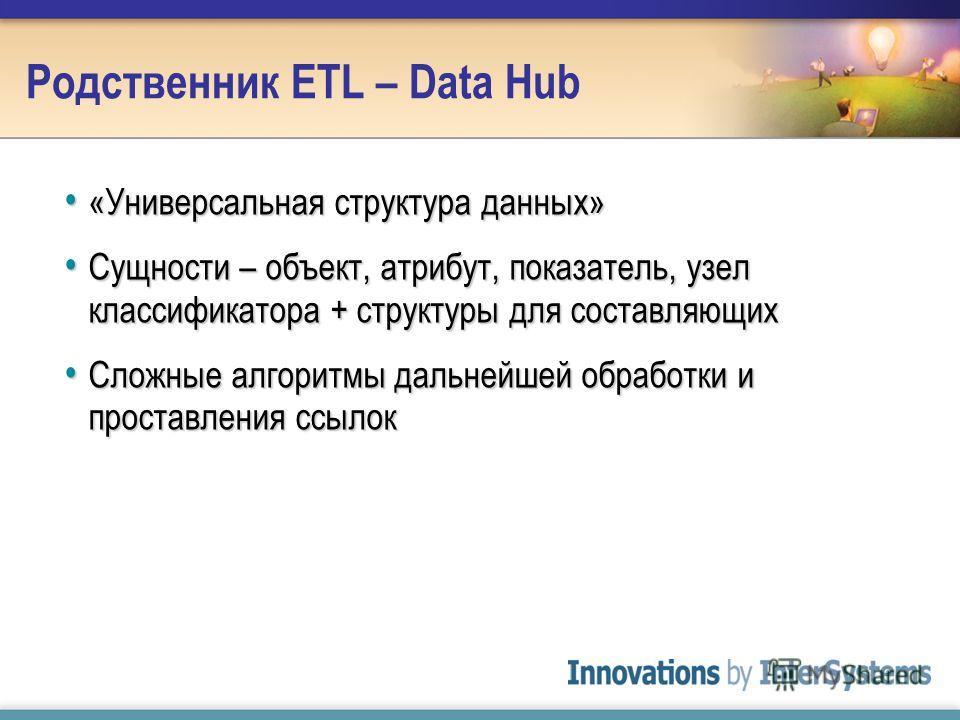 Родственник ETL – Data Hub «Универсальная структура данных» «Универсальная структура данных» Сущности – объект, атрибут, показатель, узел классификатора + структуры для составляющих Сущности – объект, атрибут, показатель, узел классификатора + структ