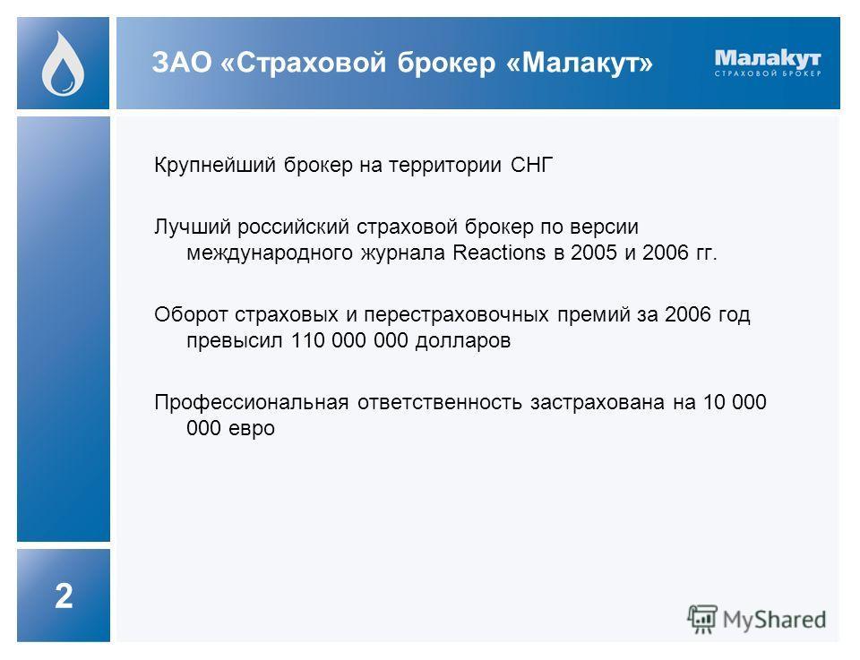 2 Крупнейший брокер на территории СНГ Лучший российский страховой брокер по версии международного журнала Reactions в 2005 и 2006 гг. Оборот страховых и перестраховочных премий за 2006 год превысил 110 000 000 долларов Профессиональная ответственност