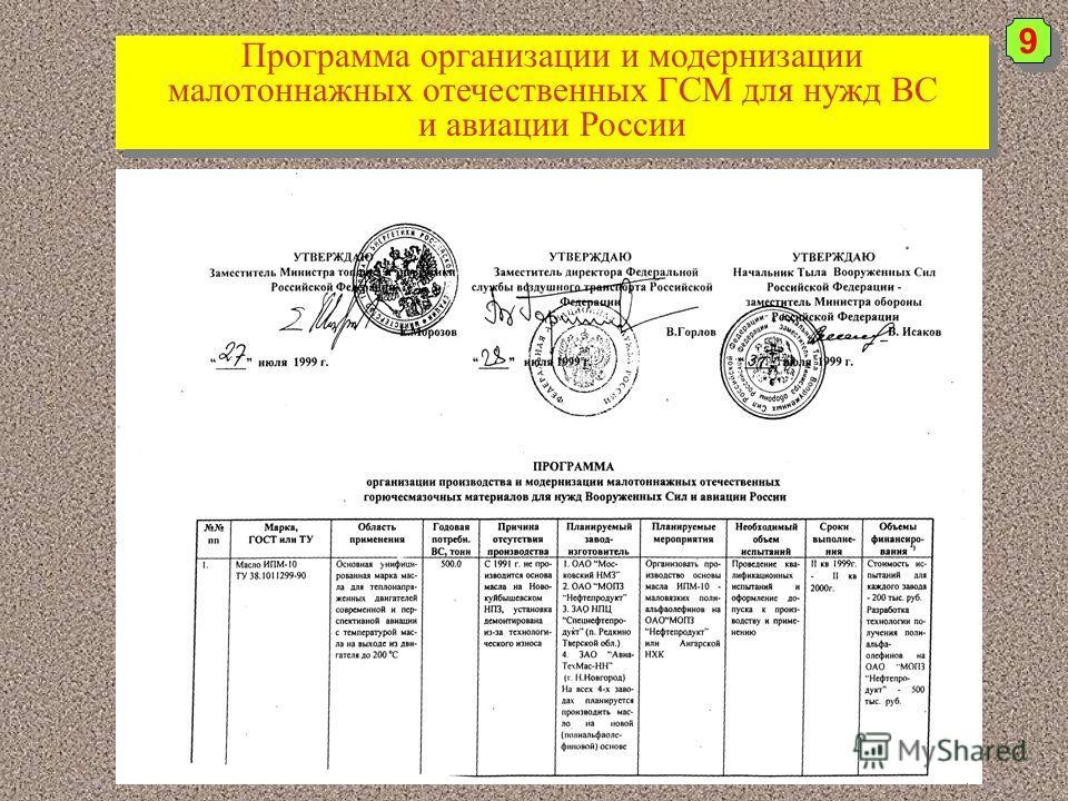 9 9 Программа организации и модернизации малотоннажных отечественных ГСМ для нужд ВС и авиации России Программа организации и модернизации малотоннажных отечественных ГСМ для нужд ВС и авиации России
