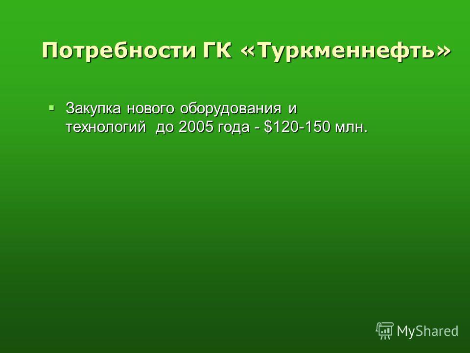 Потребности ГК «Туркменнефть» Закупка нового оборудования и технологий до 2005 года - $120-150 млн. Закупка нового оборудования и технологий до 2005 года - $120-150 млн.