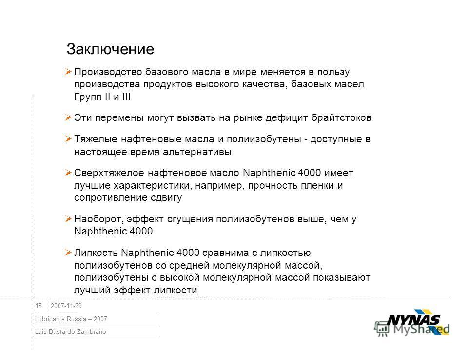 Luis Bastardo-Zambrano Lubricants Russia – 2007 182007-11-29 Заключение Производство базового масла в мире меняется в пользу производства продуктов высокого качества, базовых масел Групп II и III Эти перемены могут вызвать на рынке дефицит брайтстоко
