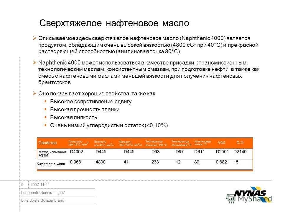 Luis Bastardo-Zambrano Lubricants Russia – 2007 52007-11-29 Сверхтяжелое нафтеновое масло Описываемое здесь сверхтяжелое нафтеновое масло (Naphthenic 4000) является продуктом, обладающим очень высокой вязкостью (4800 сСт при 40°C) и прекрасной раство