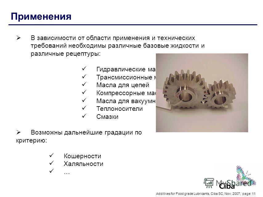 Additives for Food grade Lubricants, Ciba SC, Nov. 2007, page: 11 Применения В зависимости от области применения и технических требований необходимы различные базовые жидкости и различные рецептуры: Гидравлические масла Трансмиссионные масла Масла дл