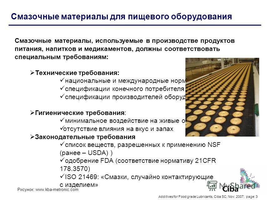 Additives for Food grade Lubricants, Ciba SC, Nov. 2007, page: 3 Смазочные материалы для пищевого оборудования Смазочные материалы, используемые в производстве продуктов питания, напитков и медикаментов, должны соответствовать специальным требованиям