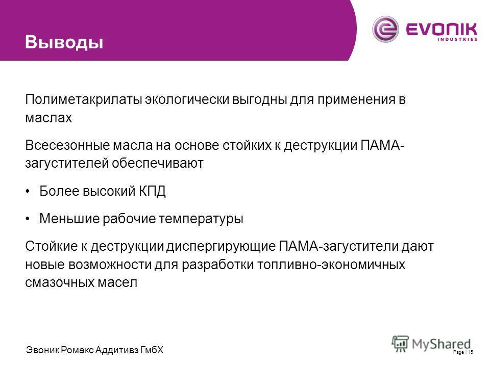 2007-11-28 | Evonik RohMax Additives GmbH | Thomas SchimmelPage | 15 Выводы Полиметакрилаты экологически выгодны для применения в маслах Всесезонные масла на основе стойких к деструкции ПАМА- загустителей обеспечивают Более высокий КПД Меньшие рабочи