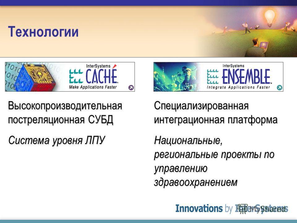 Технологии Высокопроизводительная постреляционная СУБД Система уровня ЛПУ Специализированная интеграционная платформа Национальные, региональные проекты по управлению здравоохранением