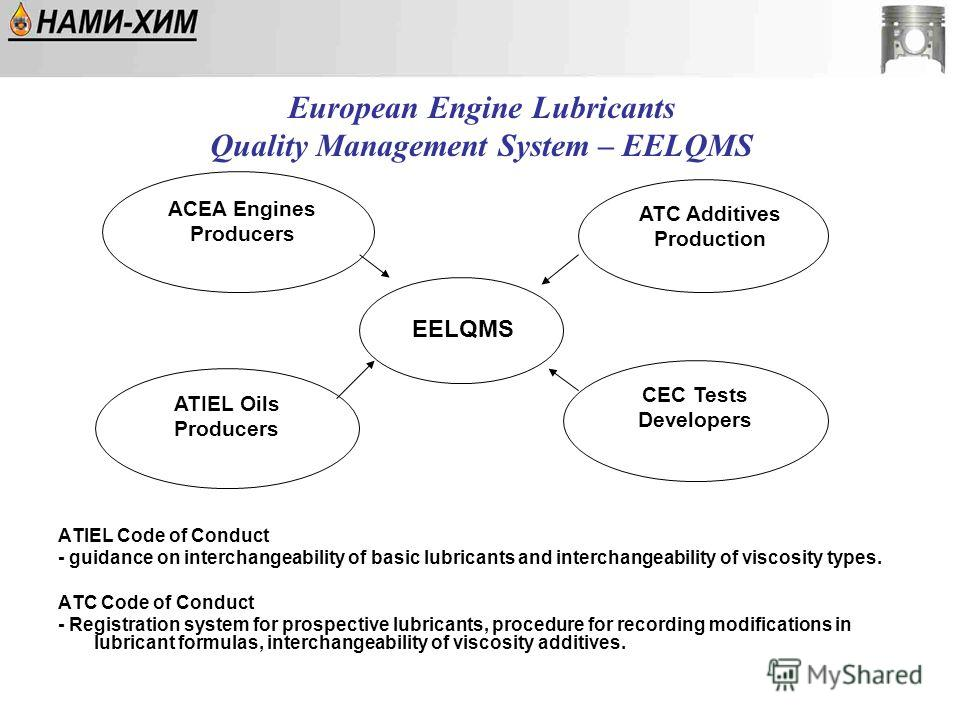 European Engine Lubricants Quality Management System – EELQMS ATIEL Code of Conduct - guidance on interchangeability of basic lubricants and interchangeability of viscosity types. ATC Code of Conduct - Registration system for prospective lubricants,