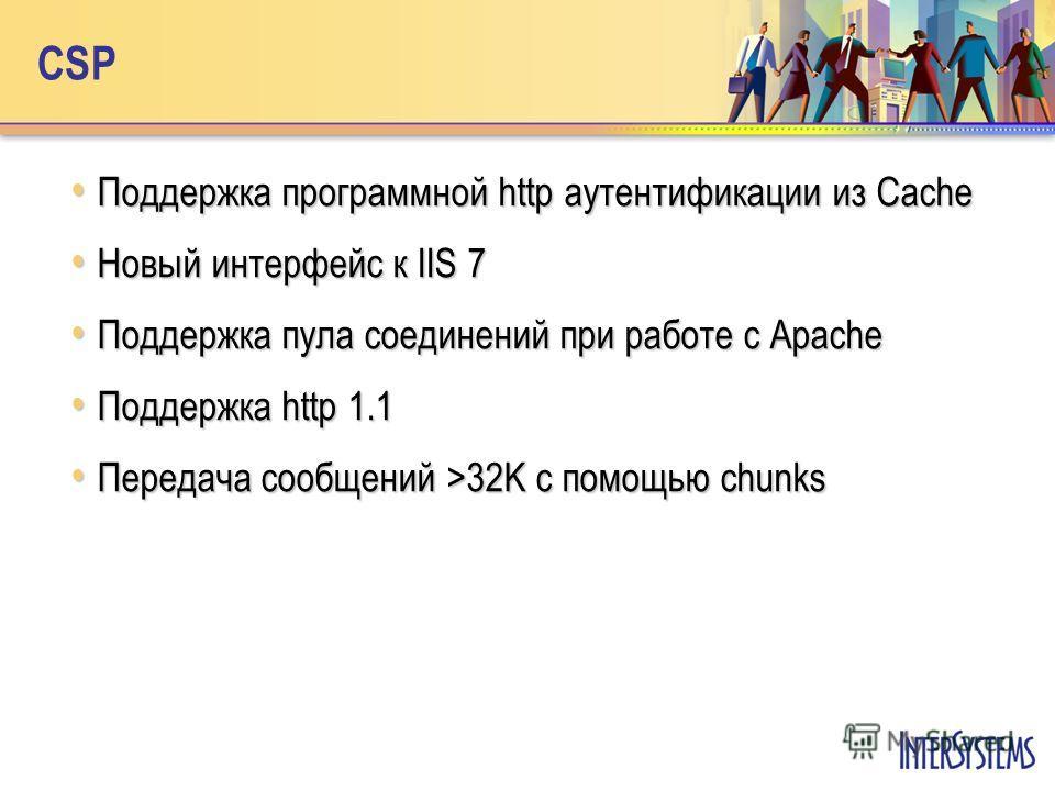 CSP Поддержка программной http аутентификации из Cache Поддержка программной http аутентификации из Cache Новый интерфейс к IIS 7 Новый интерфейс к IIS 7 Поддержка пула соединений при работе с Apache Поддержка пула соединений при работе с Apache Подд