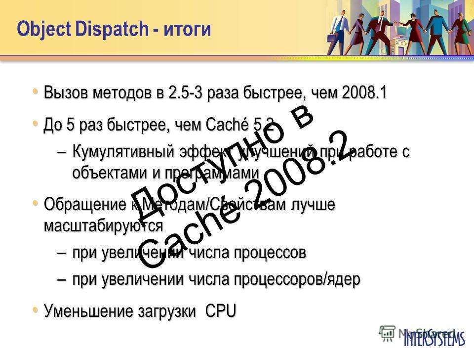 Object Dispatch - итоги Вызов методов в 2.5-3 раза быстрее, чем 2008.1 Вызов методов в 2.5-3 раза быстрее, чем 2008.1 До 5 раз быстрее, чем Caché 5.2 До 5 раз быстрее, чем Caché 5.2 –Кумулятивный эффект улучшений при работе с объектами и программами