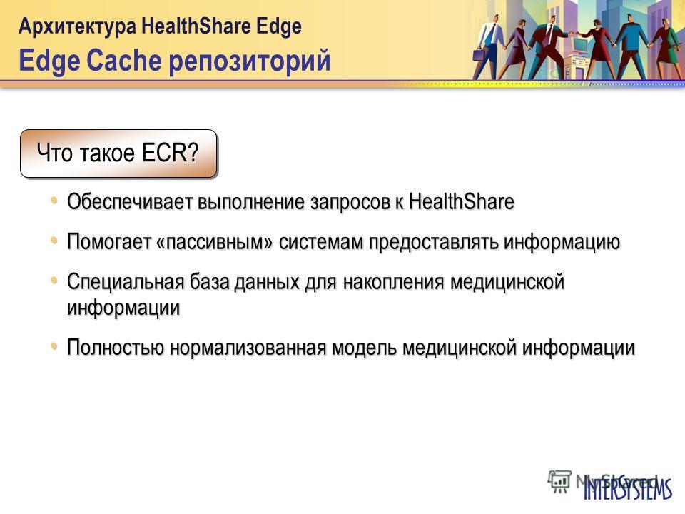 Архитектура HealthShare Edge Edge Cache репозиторий Обеспечивает выполнение запросов к HealthShare Обеспечивает выполнение запросов к HealthShare Помогает «пассивным» системам предоставлять информацию Помогает «пассивным» системам предоставлять инфор