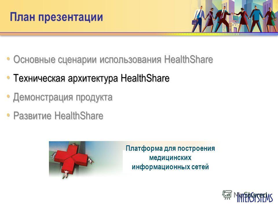План презентации Основные сценарии использования HealthShare Основные сценарии использования HealthShare Техническая архитектура HealthShare Техническая архитектура HealthShare Демонстрация продукта Демонстрация продукта Развитие HealthShare Развитие