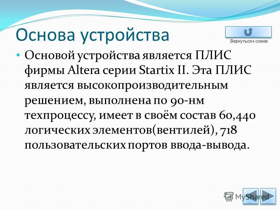 Основа устройства Основой устройства является ПЛИС фирмы Altera серии Startix II. Эта ПЛИС является высокопроизводительным решением, выполнена по 90-нм техпроцессу, имеет в своём состав 60,440 логических элементов(вентилей), 718 пользовательских порт