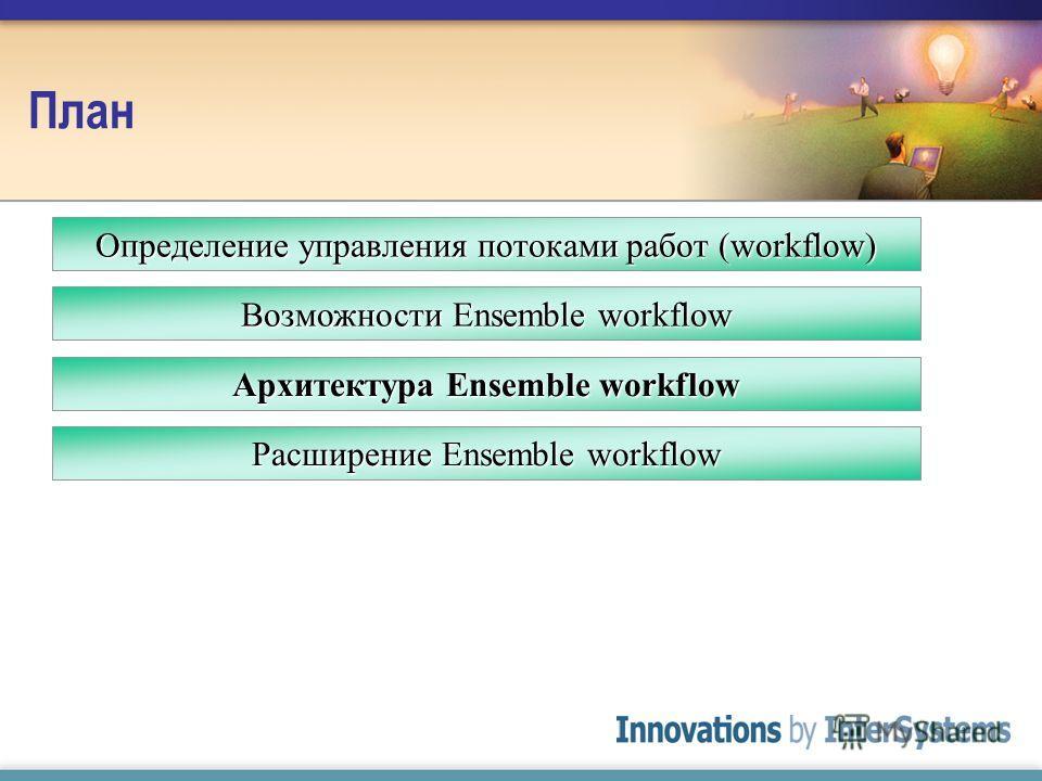 План Архитектура Ensemble workflow Расширение Ensemble workflow Определение управления потоками работ (workflow) Возможности Ensemble workflow