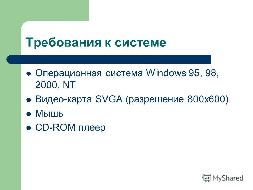 Требования к системе Операционная система Windows 95, 98, 2000, NT Видео-карта SVGA (разрешение 800х600) Мышь CD-ROM плеер