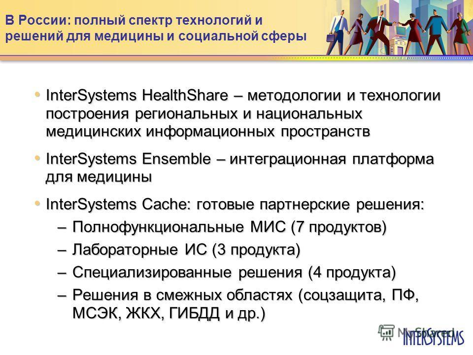 В России: полный спектр технологий и решений для медицины и социальной сферы InterSystems HealthShare – методологии и технологии построения региональных и национальных медицинских информационных пространств InterSystems HealthShare – методологии и те