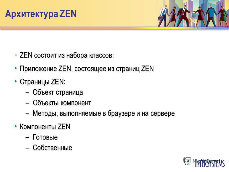 Архитектура ZEN ZEN состоит из набора классов: ZEN состоит из набора классов: Приложение ZEN, состоящее из страниц ZEN Приложение ZEN, состоящее из страниц ZEN Страницы ZEN: Страницы ZEN: –Объект страница –Объекты компонент –Методы, выполняемые в бра