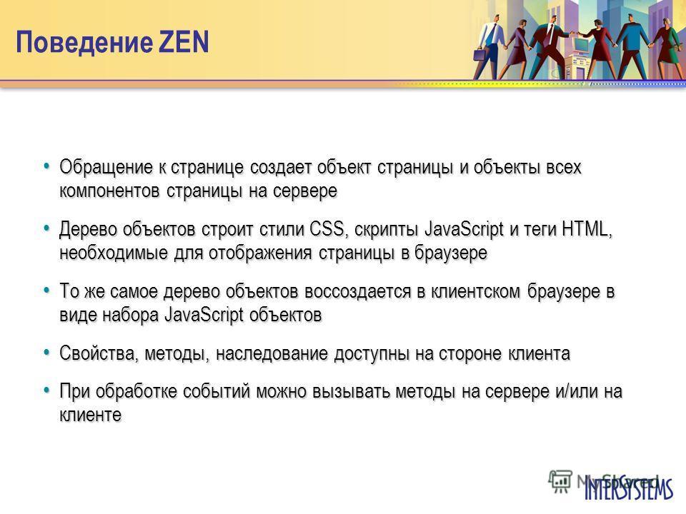 Поведение ZEN Обращение к странице создает объект страницы и объекты всех компонентов страницы на сервере Обращение к странице создает объект страницы и объекты всех компонентов страницы на сервере Дерево объектов строит стили CSS, скрипты JavaScript