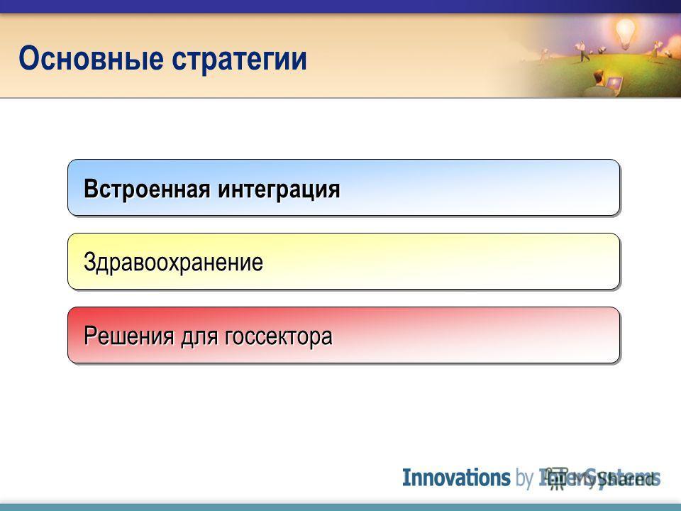 Основные стратегии Встроенная интеграция ЗдравоохранениеЗдравоохранение Решения для госсектора